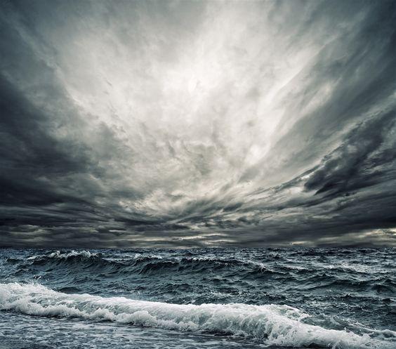 Big ocean wave breaking the shore